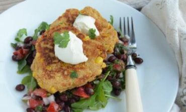 Tex-Mex Corn Fritters + Black Bean Salad