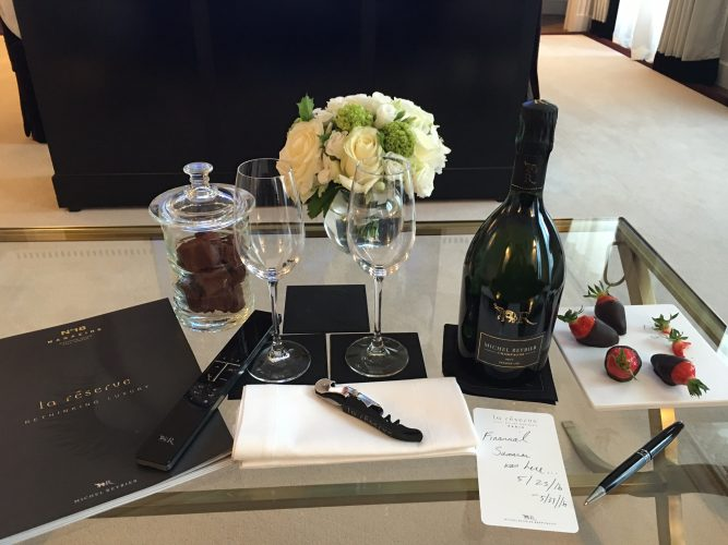 Welcome bottle of champagne at La Reserve in Paris