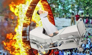 Daredevil Patient on Bed Jumps Through Ring of Fire
