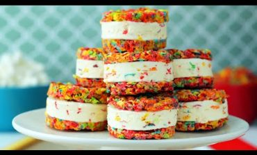 Rainbow Ice Cream Sandwich // Presented By BuzzFeed & Pebbles Cereal