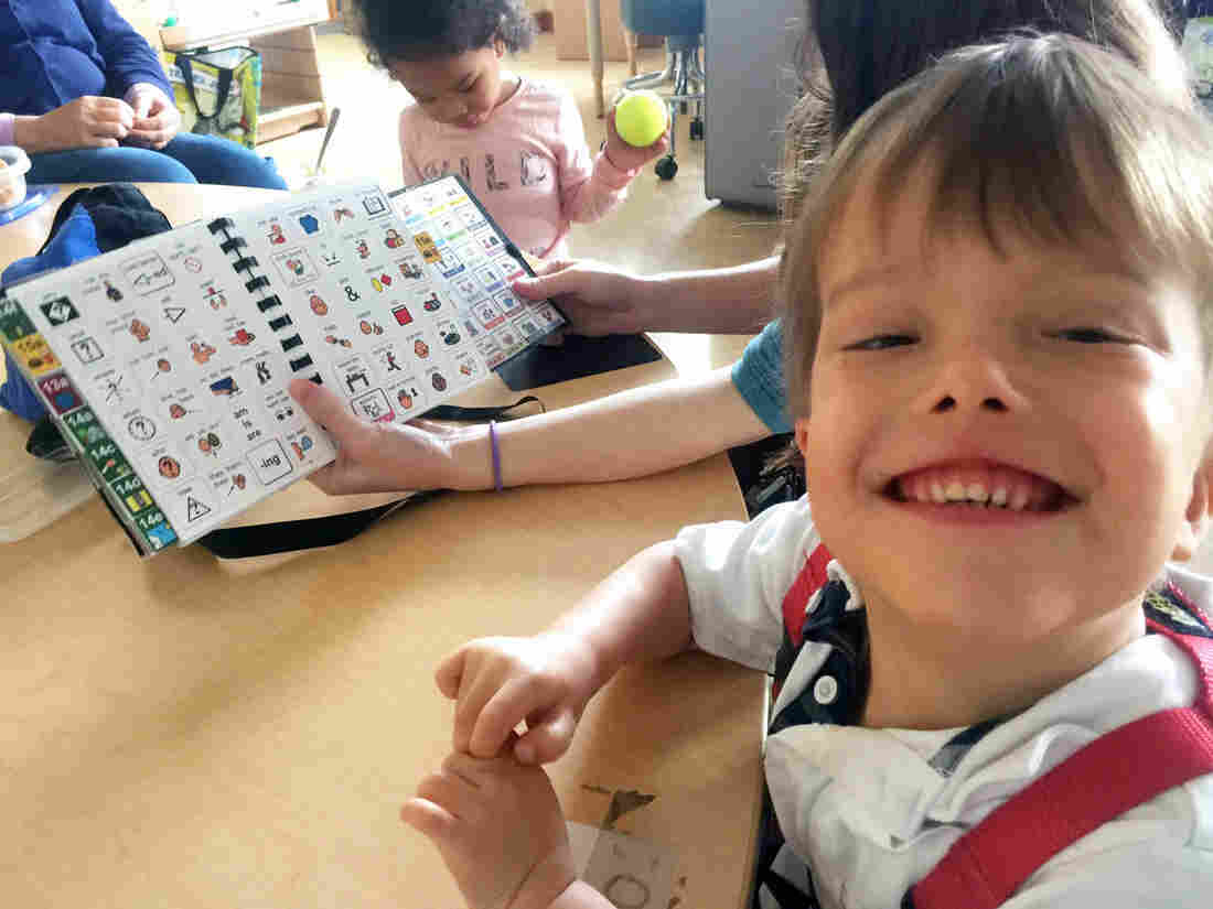 """Milo Lorentzen is learning to read and speak using an alternative language method that incorporates symbols and pictures. """"He was starting to have behavioral issues until we gave him this method,"""" says his mother, Karen Park. """"Now Milo has a voice."""""""